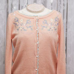 Aegean Sea - Floral Embroidered Cardigan - Pink